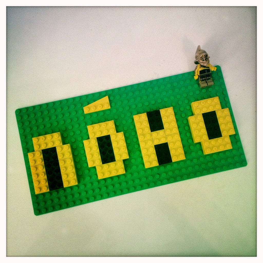 Noho logo written in legos