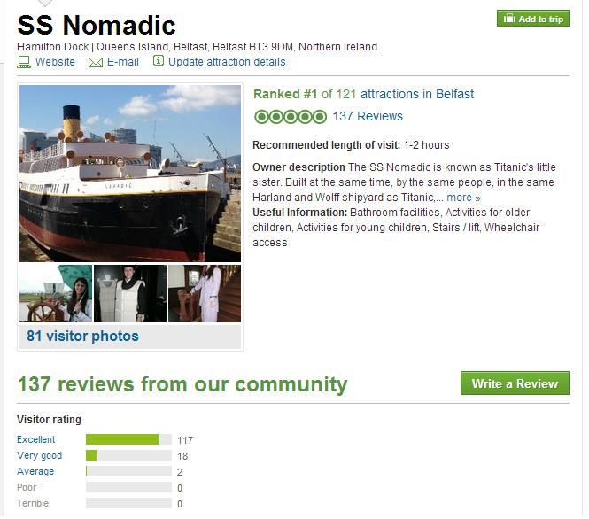 SS Nomadic Top Ranked Belfast Exhibit