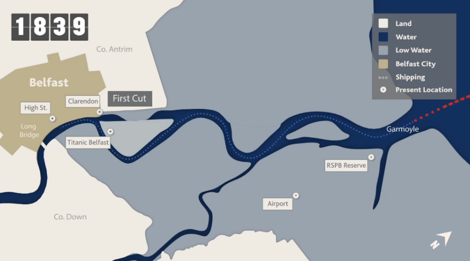 Taken from the animation of the cutting of the Victoria Channel at Belfast Harbour