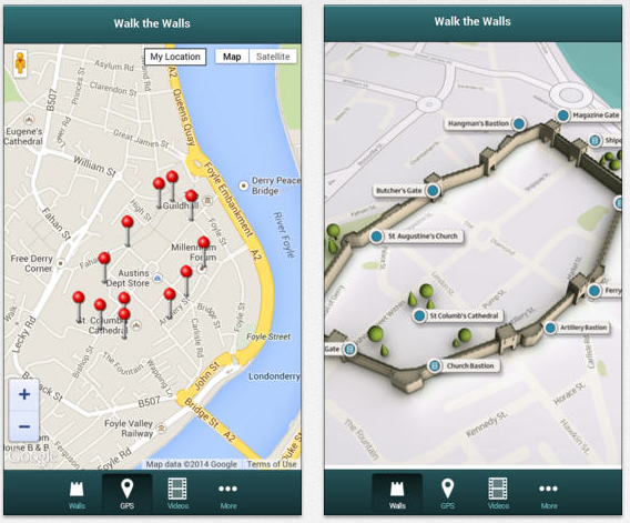 Two maps views for Walk the Walls offer the visitor either a GPS experience or a 3D image of the historical walls