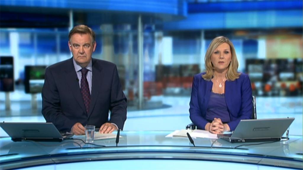 Six O'Clock RTE News with studio backdrop by Noho