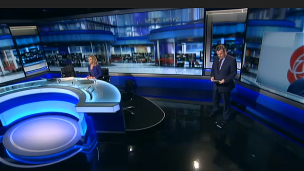 Wide-angle shot of the RTE Newsroom with studio background by Noho